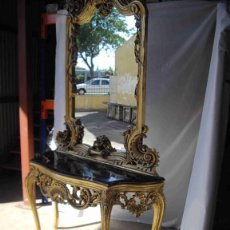 Antigüedades: CONSOLA ORO MÁRMOL NEGRO ESPEJO. Lote 237904565