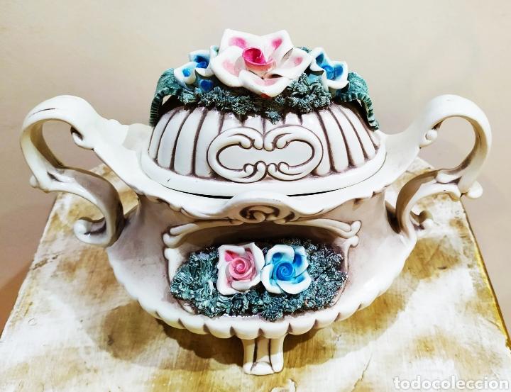 Antigüedades: Salsera antigua de porcelana; Artesanía SOVAL, Ref. 640. Ver fotos. - Foto 3 - 237954425