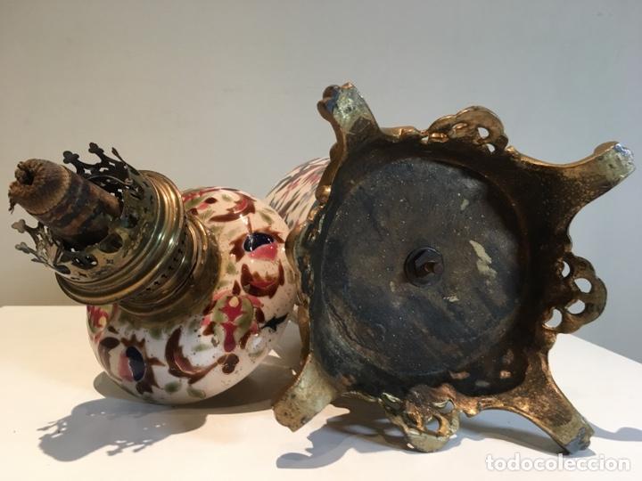 Antigüedades: Importante Quinqué siglo XIX decorado en porcelana esmaltada con motivos chinescos - Repujado dorado - Foto 10 - 238008375