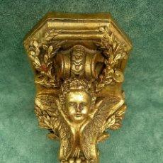 Antigüedades: MÉNSULA DORADA CON ÁNGEL AL PAN DE ORO. Lote 238042985