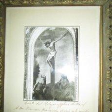Antigüedades: FOTO ORIGINAL Y MANUSCRCRISTO CRISTO DEL MILAGRO DECICATORIA AL PINTOR FRANCISCO HERNANDEZ. Lote 238173375