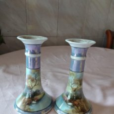 Antigüedades: PRECIOSO CONJUNTO DE VELEROS CANDELABROS DE PORCELANA NORITAKE MADE IN JAPAN. Lote 238275200