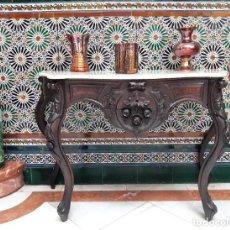 Antigüedades: CONSOLA DE CAOBA TALLADA PRINCIPIOS DE 1900. Lote 238289550