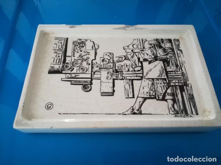 CENICERO PORCELANA ALGORA - PUBLICIDAD ARTES GRAFICAS (Antigüedades - Porcelanas y Cerámicas - Algora)