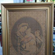 Antigüedades: TAPIZ DE LA VIRGEN MARÍA Y JESÚS CRISTO. Lote 238344470