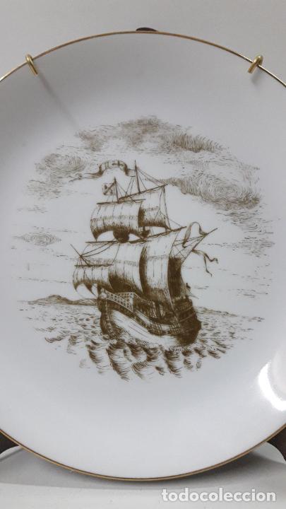 Antigüedades: PLATO PORCELANA DE UN BARCO / NAVIO - PARA COLGAR . SELLADO MAH / VIGO . DIAMETRO 18,5 CM - Foto 2 - 238385440