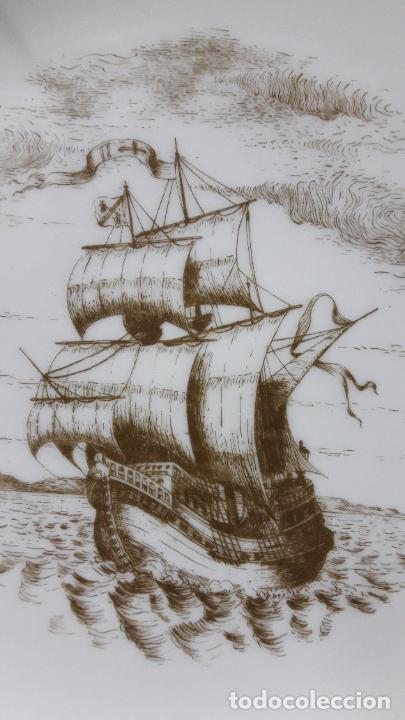 Antigüedades: PLATO PORCELANA DE UN BARCO / NAVIO - PARA COLGAR . SELLADO MAH / VIGO . DIAMETRO 18,5 CM - Foto 3 - 238385440