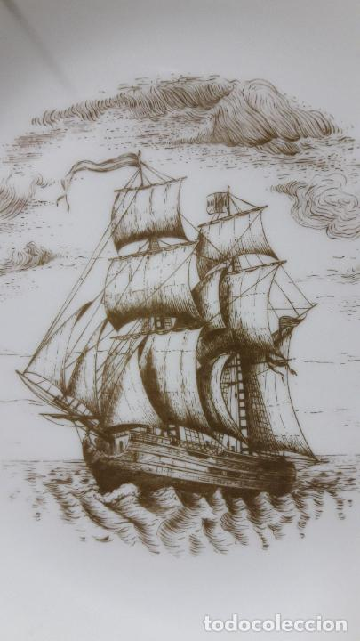Antigüedades: PLATO PORCELANA DE UN BARCO / NAVIO - PARA COLGAR . SELLADO MAH / VIGO . DIAMETRO 18,5 CM - Foto 3 - 238385730