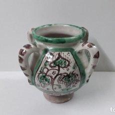 Antigüedades: BONITA VASIJA . FIRMADA PUNTER . REALIZADA EN CERAMICA DE TERUEL . ALTURA 20 CM. Lote 238395920