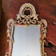 Antigüedades: GRAN TAMAÑO ESPEJO CORNUCOPIA MUY ANTIGUO EN MADERA TALLADA Y POLICROMADA AL PAN DE ORO 110X70 CM. Lote 238422070