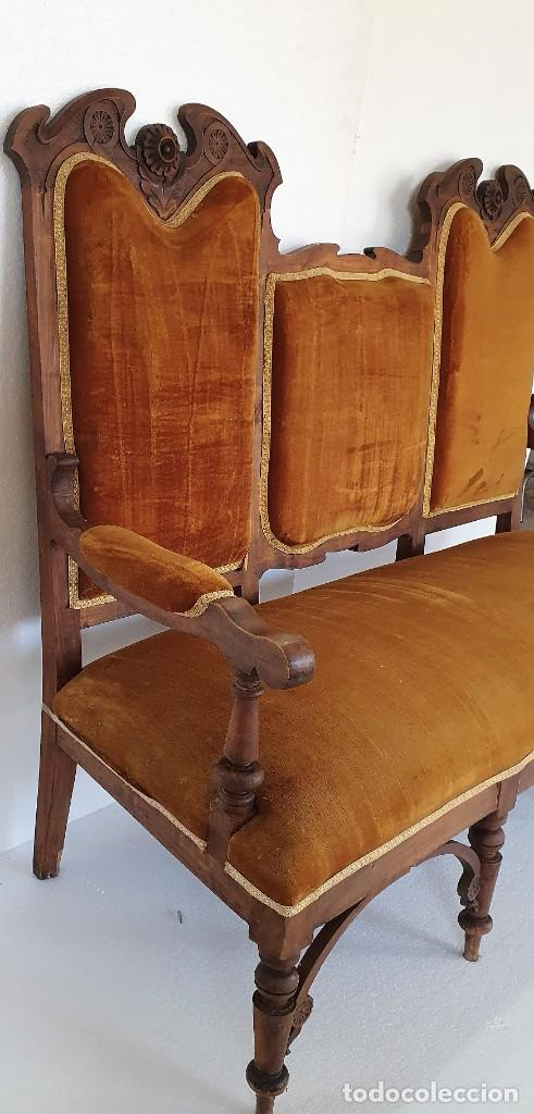 Antigüedades: SOFA FERNANDINO DE NOGAL - Foto 4 - 238538005