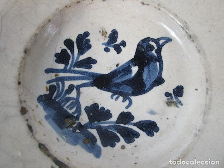 Antigüedades: Antiguo Plato - Cerámica Catalana - Decorado con Pájaro - S. XVIII - Foto 3 - 238543855