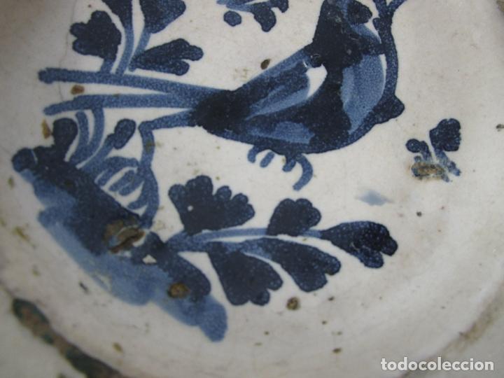 Antigüedades: Antiguo Plato - Cerámica Catalana - Decorado con Pájaro - S. XVIII - Foto 4 - 238543855
