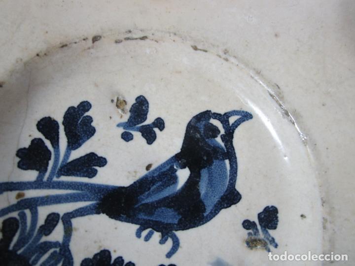 Antigüedades: Antiguo Plato - Cerámica Catalana - Decorado con Pájaro - S. XVIII - Foto 5 - 238543855