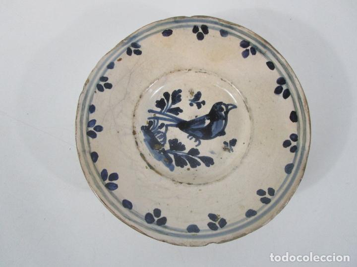 Antigüedades: Antiguo Plato - Cerámica Catalana - Decorado con Pájaro - S. XVIII - Foto 6 - 238543855