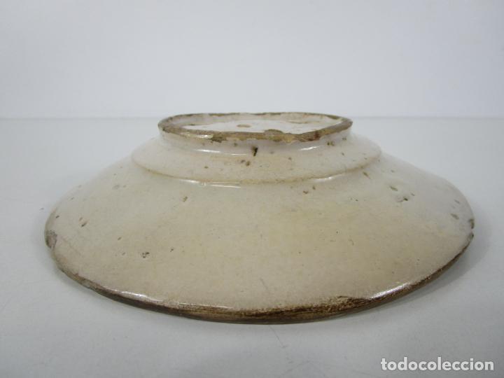 Antigüedades: Antiguo Plato - Cerámica Catalana - Decorado con Pájaro - S. XVIII - Foto 8 - 238543855