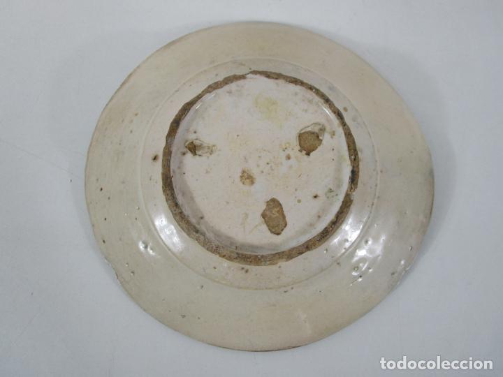 Antigüedades: Antiguo Plato - Cerámica Catalana - Decorado con Pájaro - S. XVIII - Foto 9 - 238543855