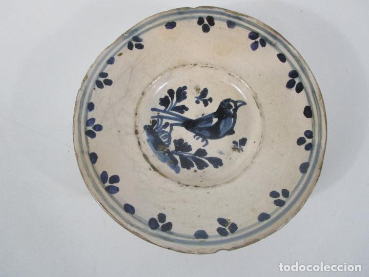 Antigüedades: Antiguo Plato - Cerámica Catalana - Decorado con Pájaro - S. XVIII - Foto 11 - 238543855