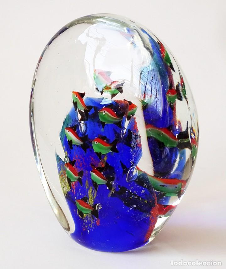 ESCULTURA ACUARIO CON PECES Y ARRECIFE DESIGN BARBINI CRISTAL DE MURANO CENEDESE VINTAGE AÑOS 50 60 (Antigüedades - Cristal y Vidrio - Murano)