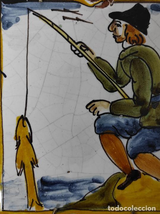 Antigüedades: Azulejo Catalán - Rajola Arts i Oficis - Pescador - S. XVIII - Foto 2 - 238551410