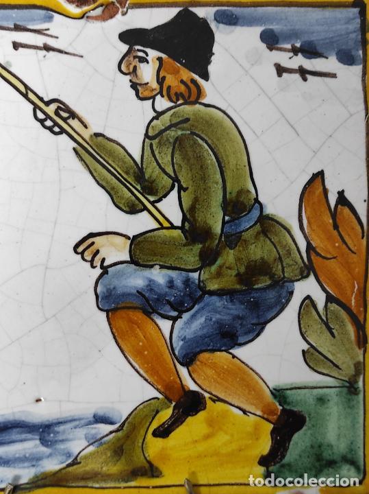 Antigüedades: Azulejo Catalán - Rajola Arts i Oficis - Pescador - S. XVIII - Foto 4 - 238551410