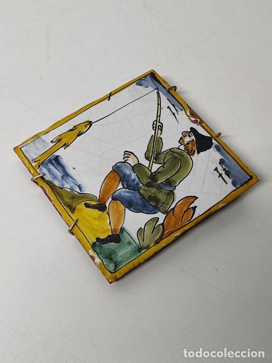 Antigüedades: Azulejo Catalán - Rajola Arts i Oficis - Pescador - S. XVIII - Foto 9 - 238551410