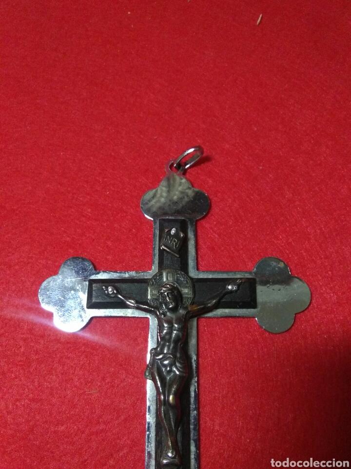 Antigüedades: Preciosa cruz fransicana ,recuerdo de las misiones ,metal y madera ,grabada en la parte posterior - Foto 7 - 238595100