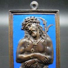 Antigüedades: PLAQUETA, RELICARIO, PORTAPAZ ECCE HOMO SIGLO XVII ESMALTADO. TUY, PONTEVEDRA. Lote 238628375