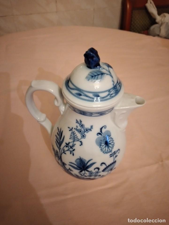 Antigüedades: antigua cafetera de porcelana, patron cebolla, Azul ,sin marca. porcelana fina - Foto 3 - 238674280