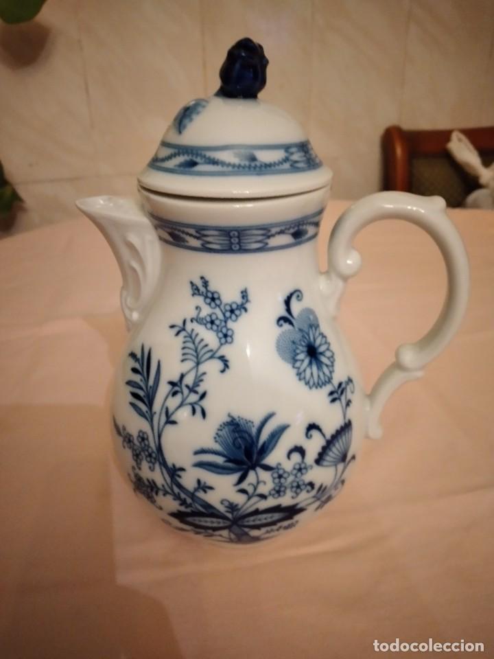 Antigüedades: antigua cafetera de porcelana, patron cebolla, Azul ,sin marca. porcelana fina - Foto 6 - 238674280