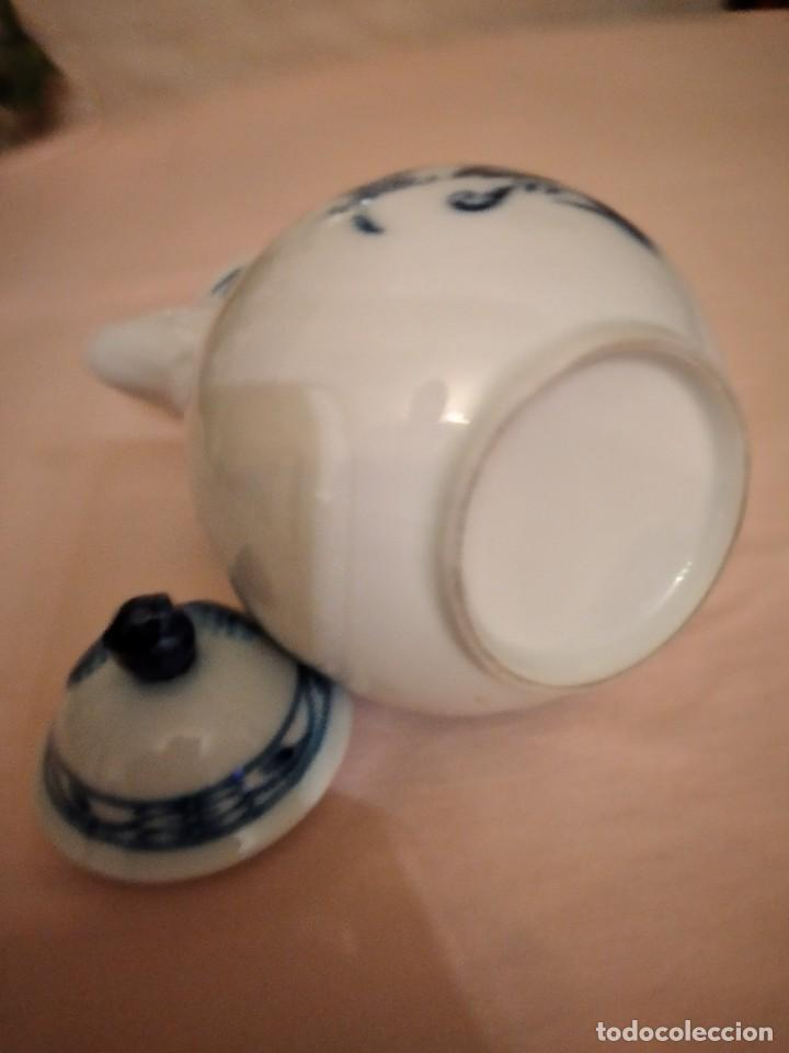 Antigüedades: antigua cafetera de porcelana, patron cebolla, Azul ,sin marca. porcelana fina - Foto 8 - 238674280