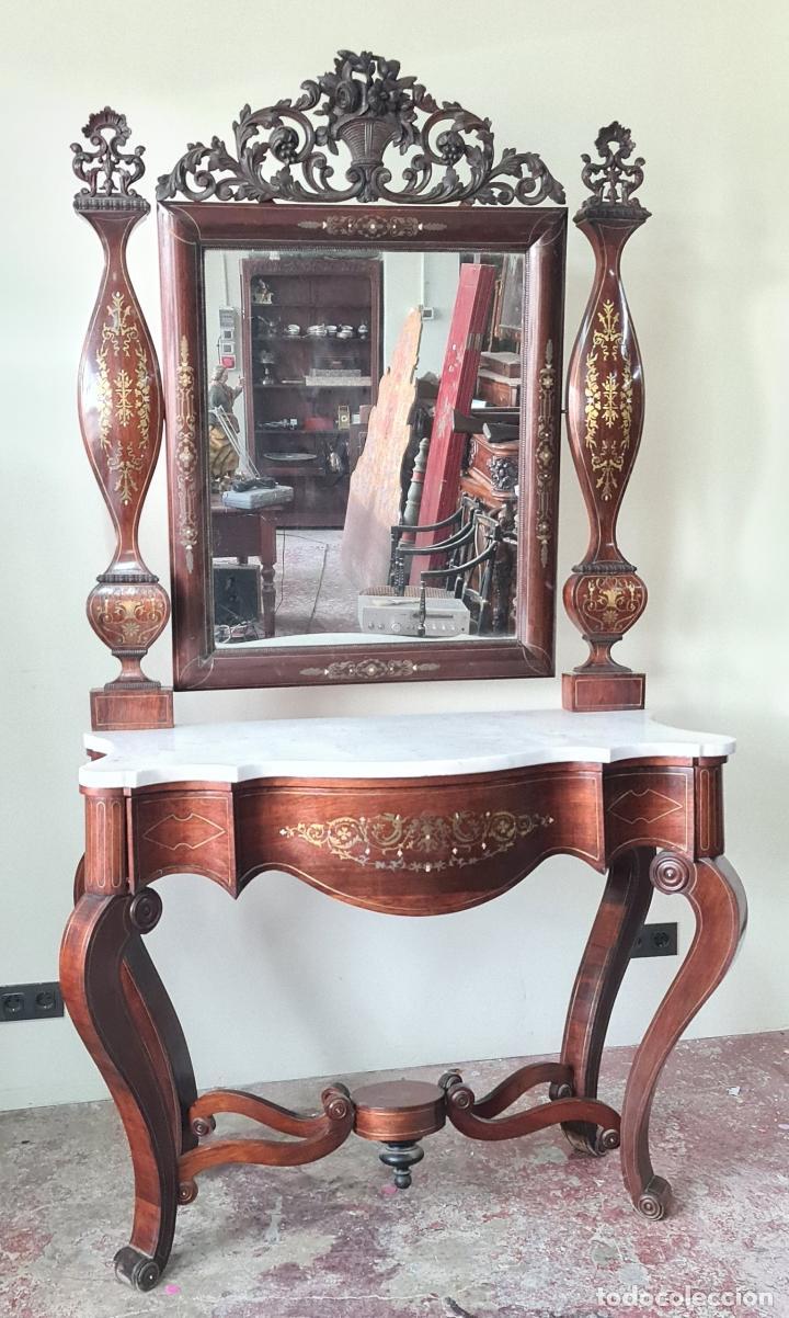 CONSOLA CON ESPEJO. MADERA DE PALISANDRO Y MARQUETERIA. ESTILO ISABELINO. SIGLO XIX. (Antigüedades - Muebles Antiguos - Consolas Antiguas)
