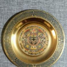 Antigüedades: PRECIOSO PLATO DE BRONCE AZTECA, ANTIGUO. Lote 238747330