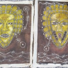 Antigüedades: TELAS PINTADAS DE ÁFRICA ORIGINALES,ANTIGUAS. Lote 238752525
