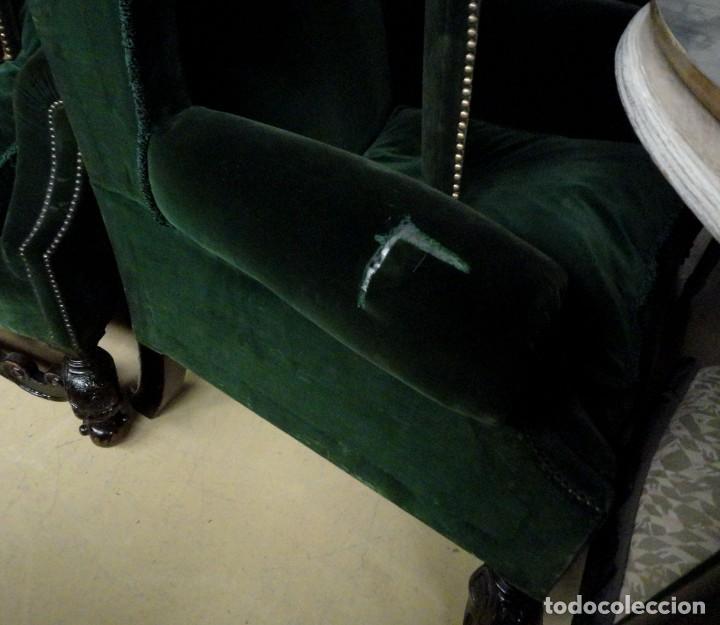 Antigüedades: Sofa y dos sillones orejeros SXIX, terciopelo verde, patas talladas . solo recogida en almacen - Foto 22 - 190432452