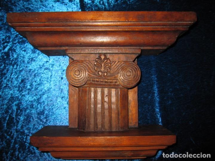 ANTIGUA TALLA MADERA MÉNSULA, PEANA, PEDESTAL, SOPORTE, REPISA, CAPITEL PARED ARTESANAL (Antigüedades - Muebles Antiguos - Ménsulas Antiguas)