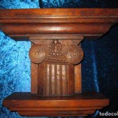 Antigüedades: ANTIGUA TALLA MADERA MÉNSULA, PEANA, PEDESTAL, SOPORTE, REPISA, CAPITEL PARED ARTESANAL. Lote 238769945