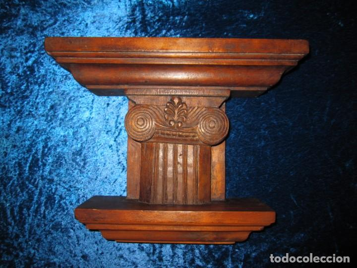 Antigüedades: Antigua talla madera ménsula, peana, pedestal, soporte, repisa, capitel pared artesanal - Foto 4 - 238769945
