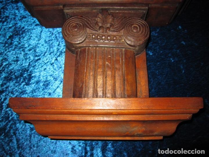 Antigüedades: Antigua talla madera ménsula, peana, pedestal, soporte, repisa, capitel pared artesanal - Foto 5 - 238769945