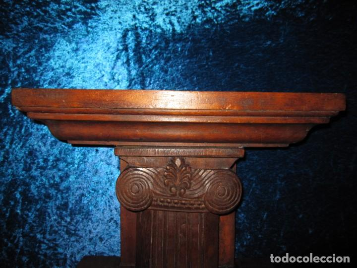 Antigüedades: Antigua talla madera ménsula, peana, pedestal, soporte, repisa, capitel pared artesanal - Foto 6 - 238769945