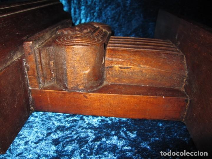 Antigüedades: Antigua talla madera ménsula, peana, pedestal, soporte, repisa, capitel pared artesanal - Foto 15 - 238769945
