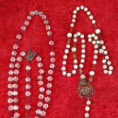 Oggetti Antichi: 2 ANTIGUOS ROSARIOS. PLATA. CRISTAL. NÁCAR. ESPAÑA. SIGLO XIX-XX. Lote 238775795