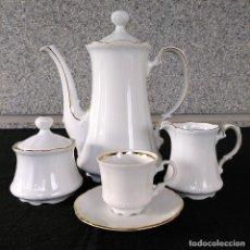 Antigüedades: JUEGO DE CAFÉ PORCELANA BLANCA. Lote 238791860