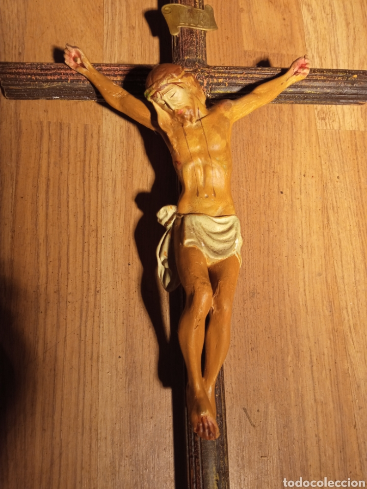 CRUZ ANTIGUA MADERA Y ESTUCO. (Antigüedades - Religiosas - Cruces Antiguas)