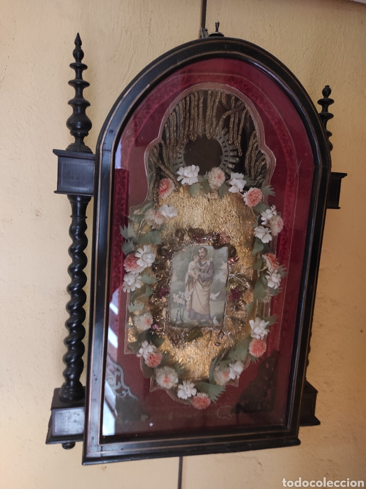 Antigüedades: Antigua Urna de Madera Acristalada - Tríptico de San José con el Niño Jesús - - Foto 8 - 239368150