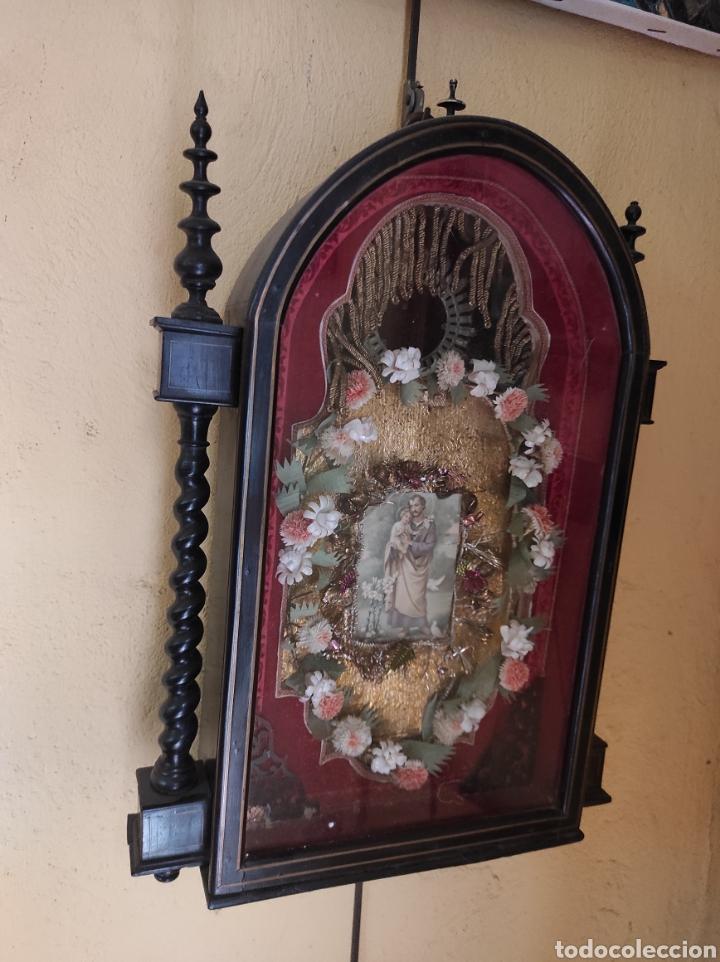Antigüedades: Antigua Urna de Madera Acristalada - Tríptico de San José con el Niño Jesús - - Foto 9 - 239368150