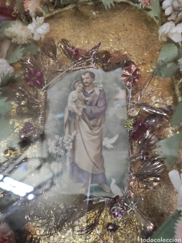 Antigüedades: Antigua Urna de Madera Acristalada - Tríptico de San José con el Niño Jesús - - Foto 15 - 239368150