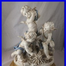 Antigüedades: PRECIOSA FIGURA DE PORCELANA ANGELOTES DE ALGORA FIRMADA Y NUMERADA. Lote 239372155
