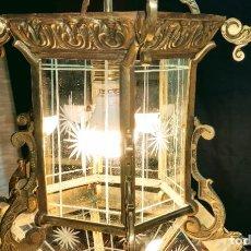 Antigüedades: FANTASTICO FAROL DE BRONCE, LUZ, LAMPARA. Lote 239426240