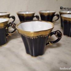 Antigüedades: 10 TAZAS DE CAFÉ PORCELANA LIMOGES - CAMILLE THARAUD - FRANCE - VINTAGE - AZUL Y DORADO. Lote 239465485